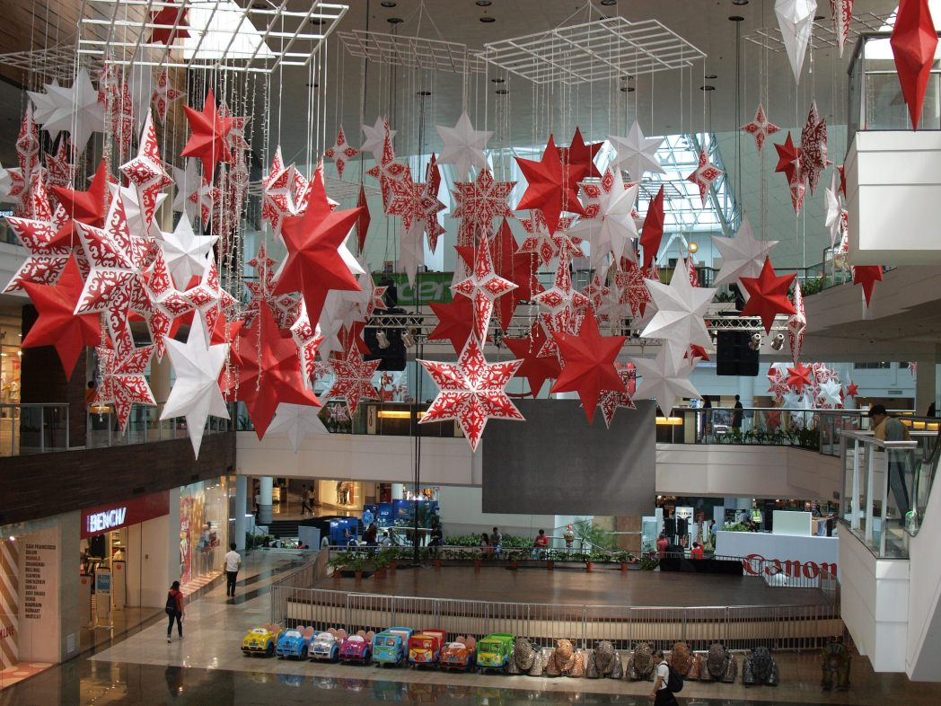 A mall full of Christmas decorations in September