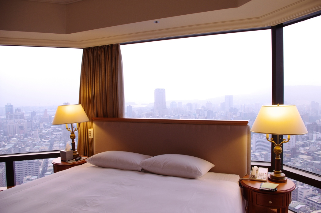 A deluxe and cushy hotel room in an international city