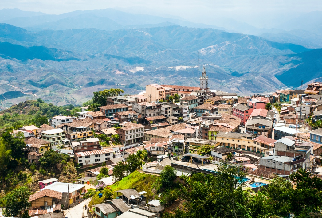 A historic city dotted with old buildings in Ecuador