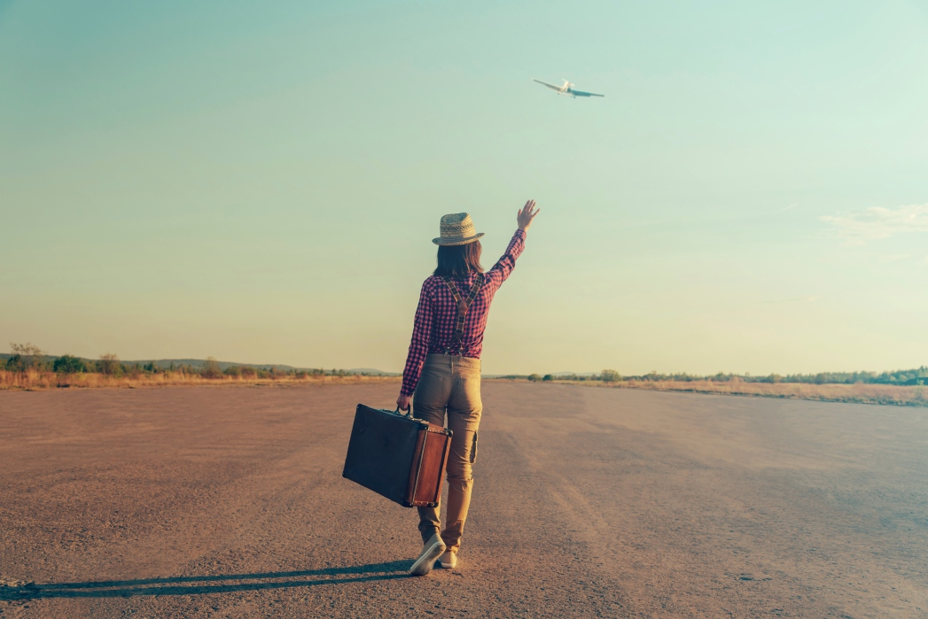 A happy solo traveler