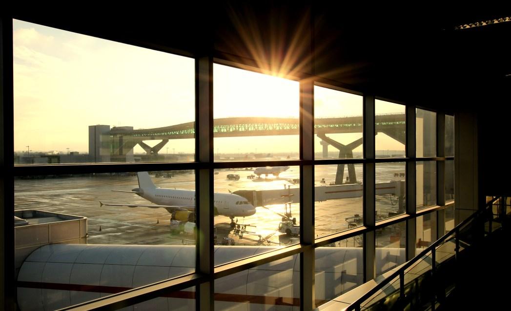 A beautiful sunrise in a domestic airport