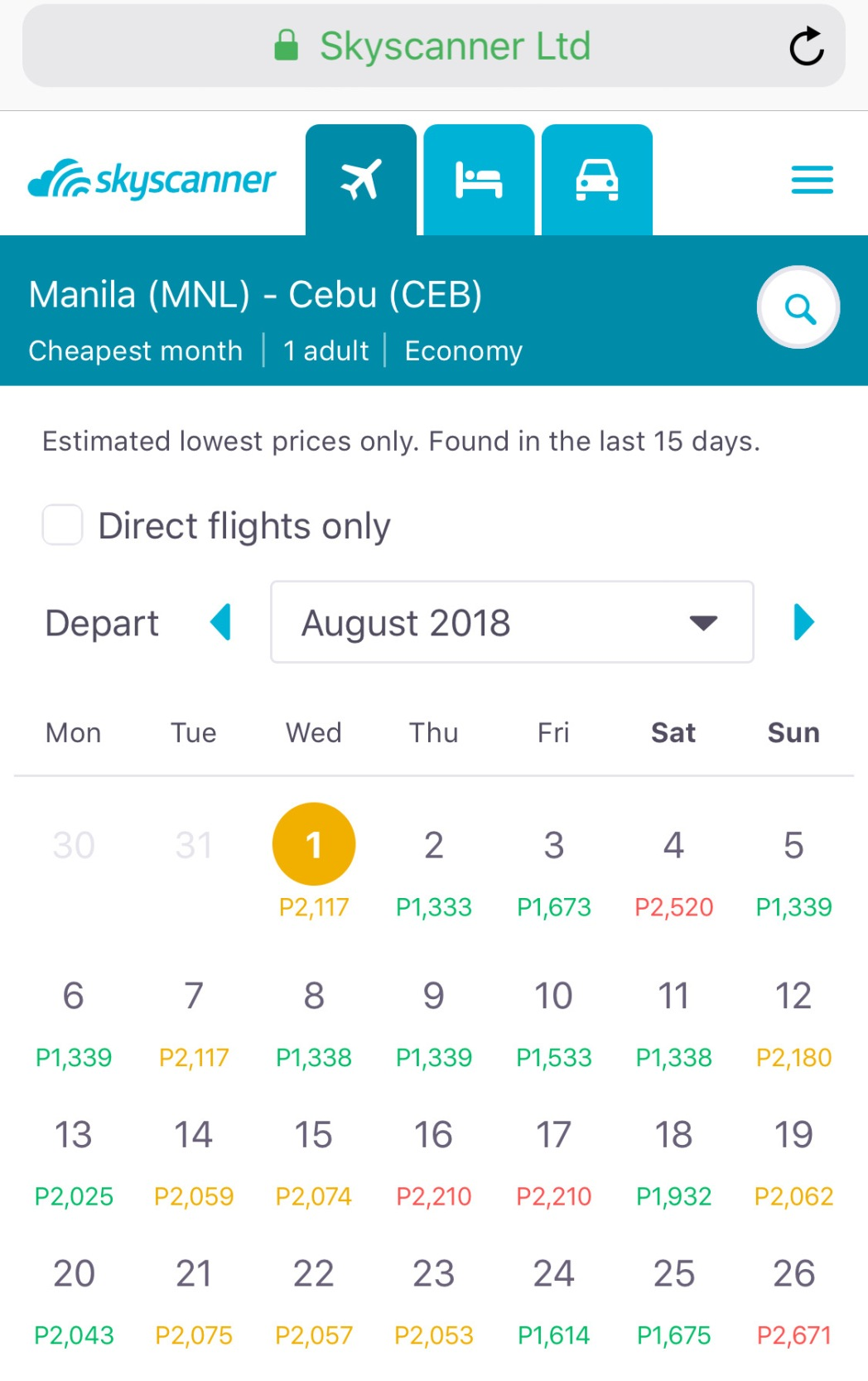 A screenshot of the our whole month departure feature
