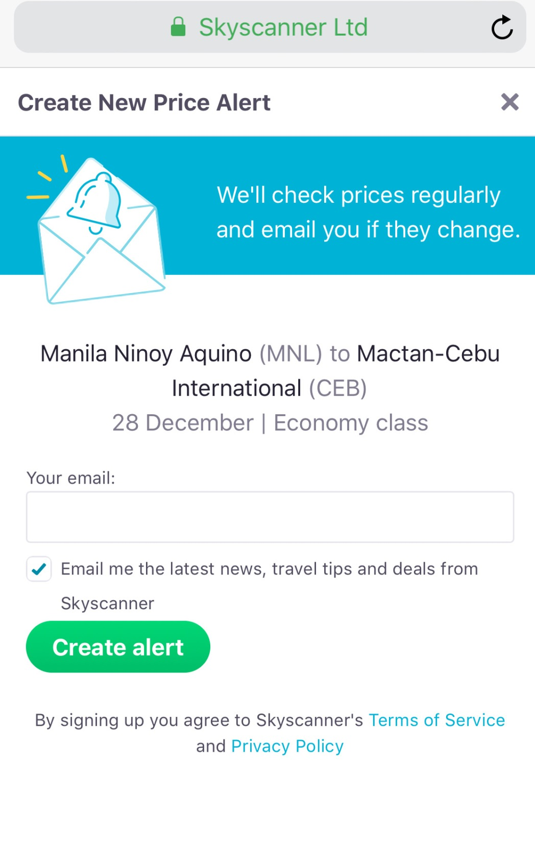A screenshot of Skyscanner's price alert feature