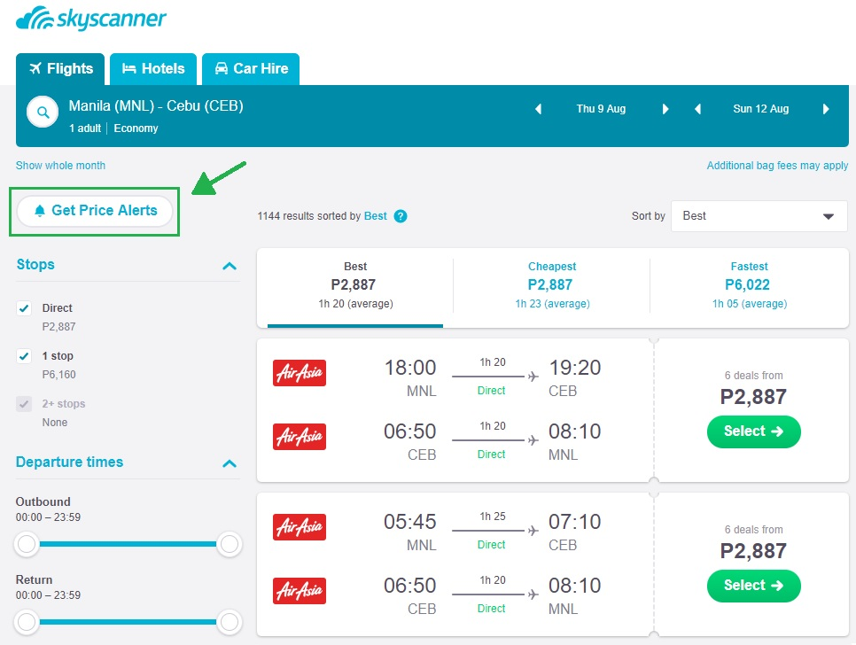 Find cheap flights by setting price alerts